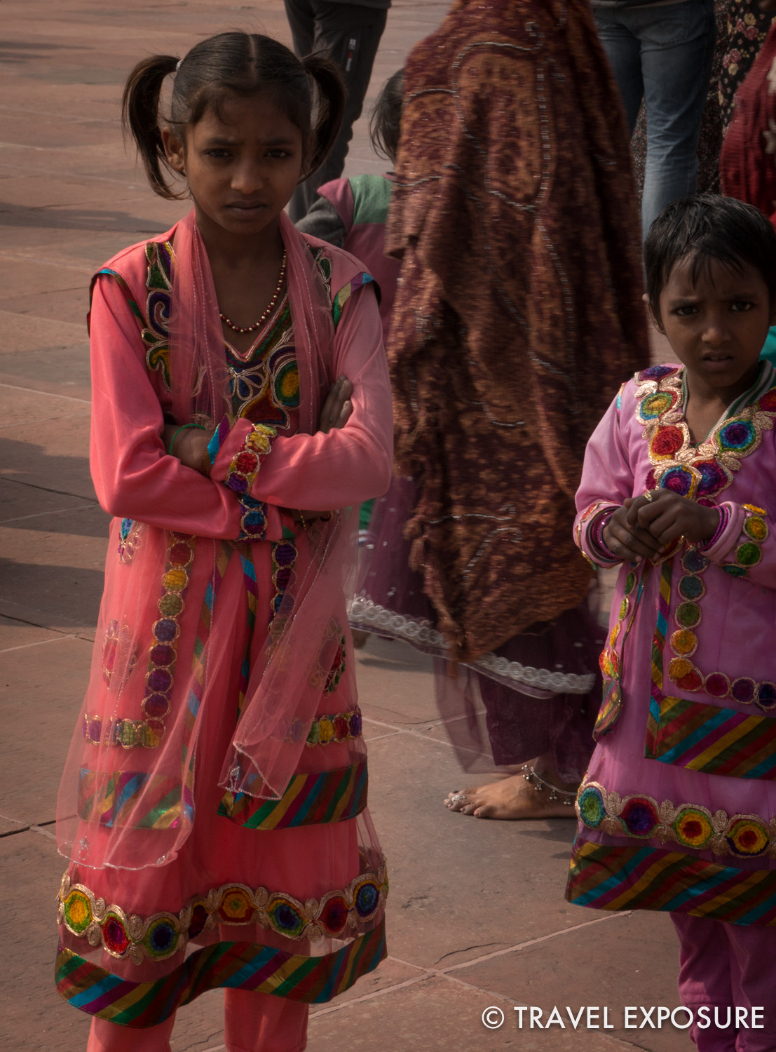 Girls all dressed up at the Jama Masjid