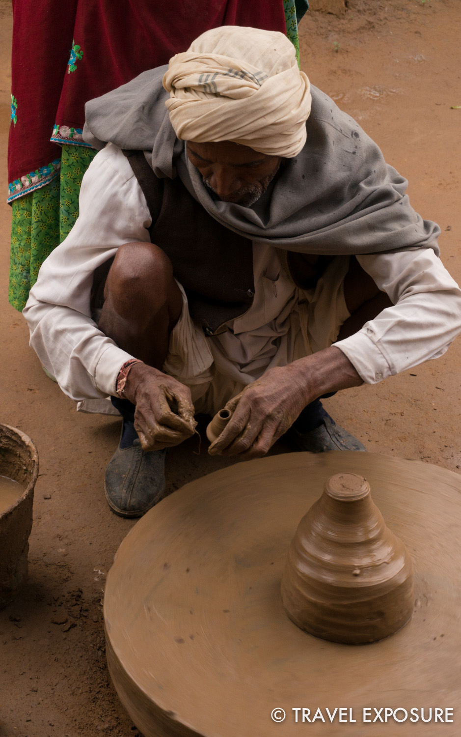 A man makes pottery  in Abhaneri