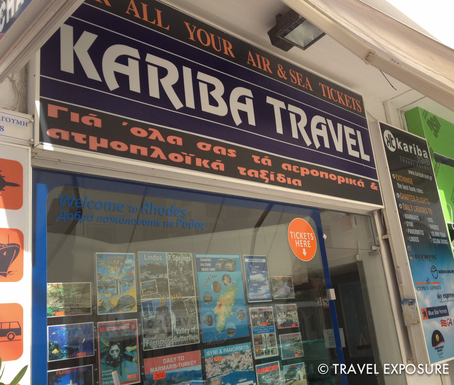 Travel agencies like this one in Rhodes are easy to spot.