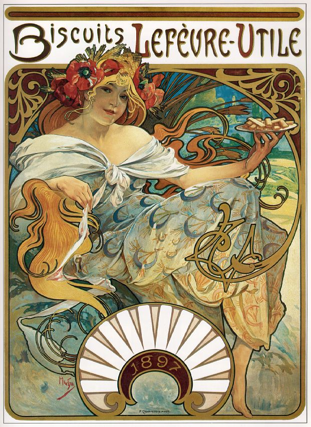 "The art Mucha is famous for…his commercial posters, advertisements and illustrations. -------------   ""Affiche Biscuits Lefèvre-Utile Mucha""  by  Alfons Mucha  - unknown. Licensed under Public domain via  Wikimedia Commons"