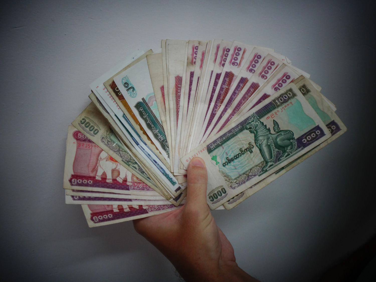 We're rich! This is what $200 USD looks like in Myanmar money.