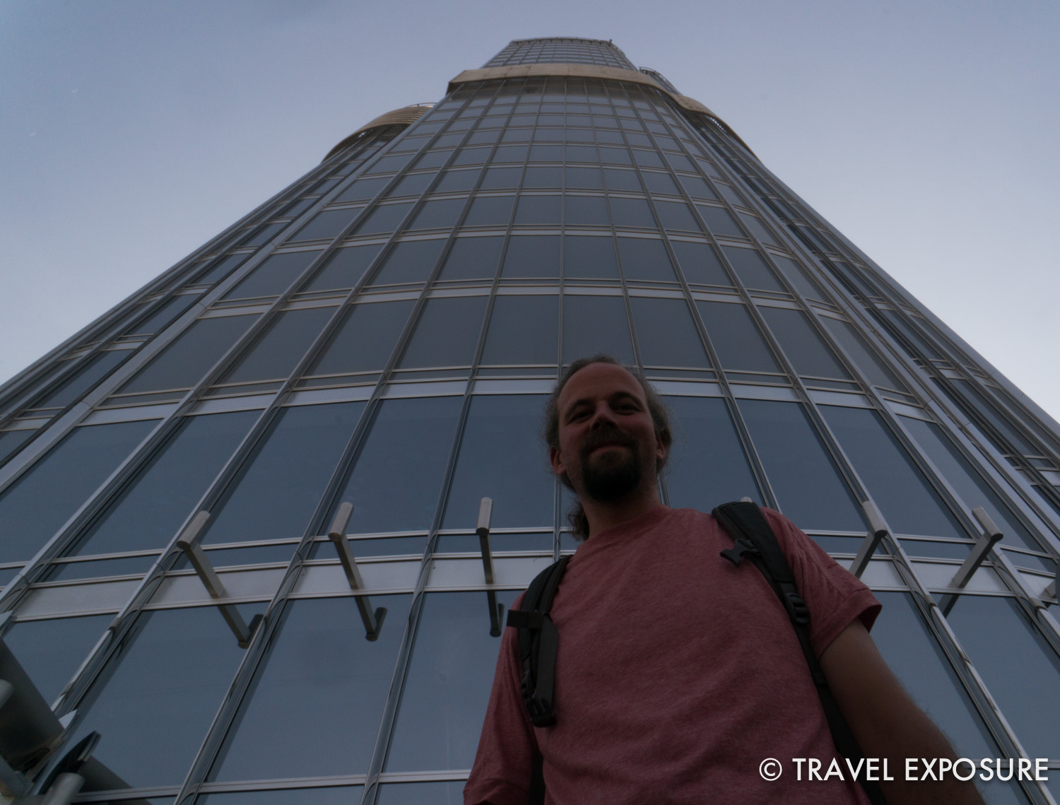 At the Burj Khalifa, the tallest building in the world, in Dubai.