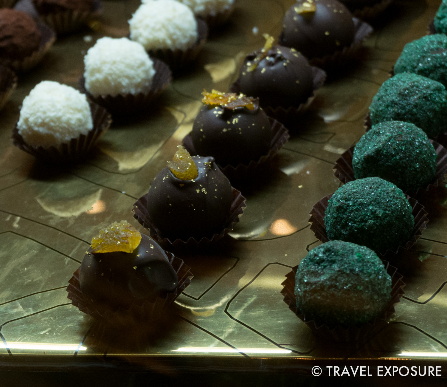 Gold topped chocolates at the glittery 7-star Emirates Palace hotel in Abu Dhabi.