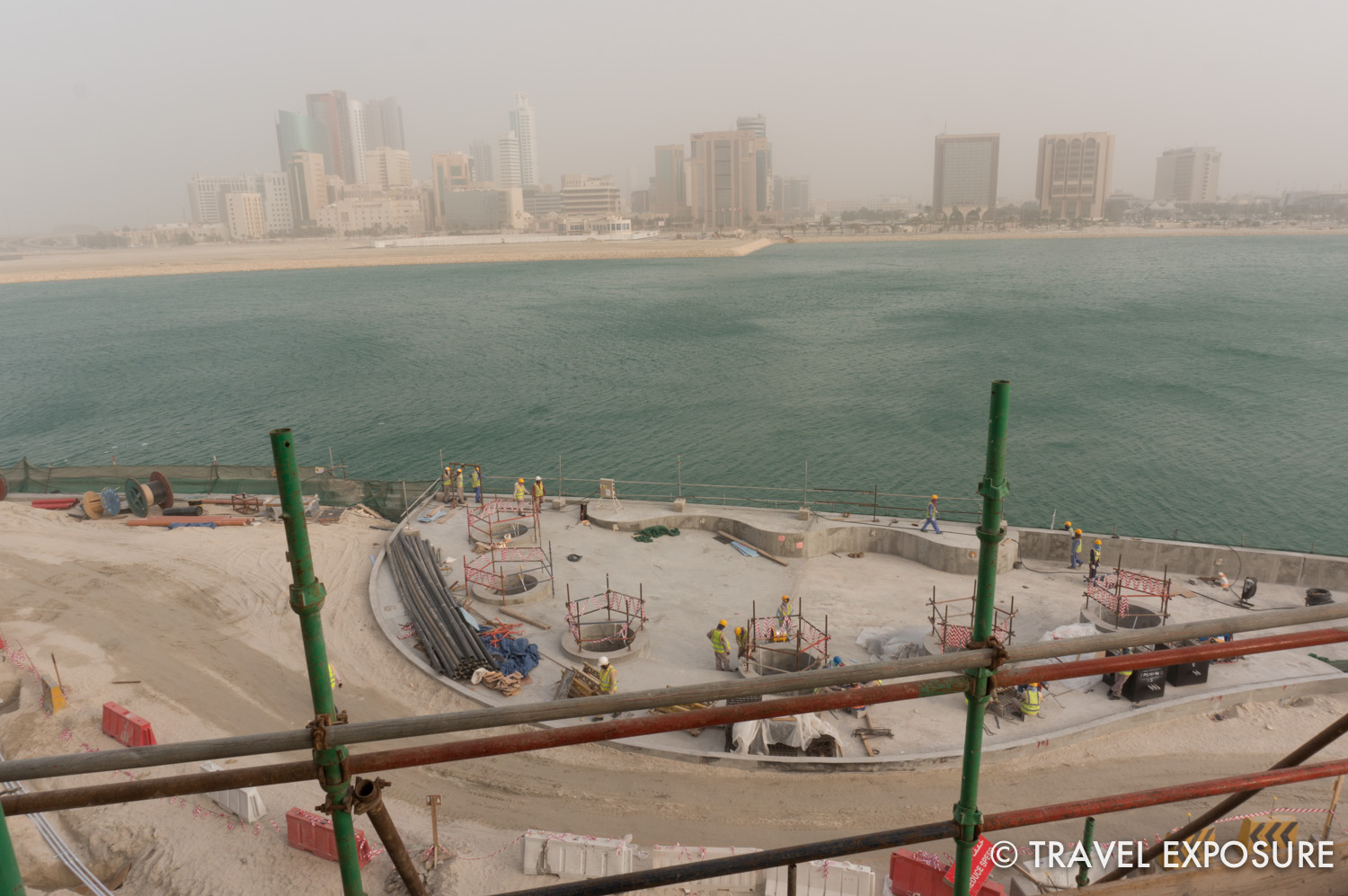 In the middle of one of the newest reclaimed islands in Bahrain is the upcoming Four Seasons Hotel. Our friend Brian is the on-site architect overseeing the design and construction and gave us a tour. (Visibility not great due to a sand storm that day!)
