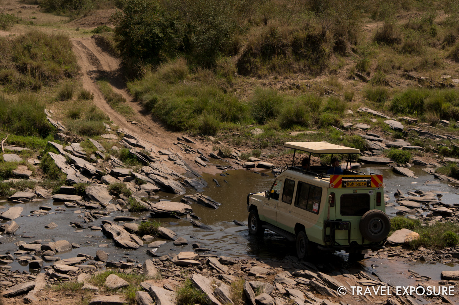 We were riding around in a car like this on the game drive.