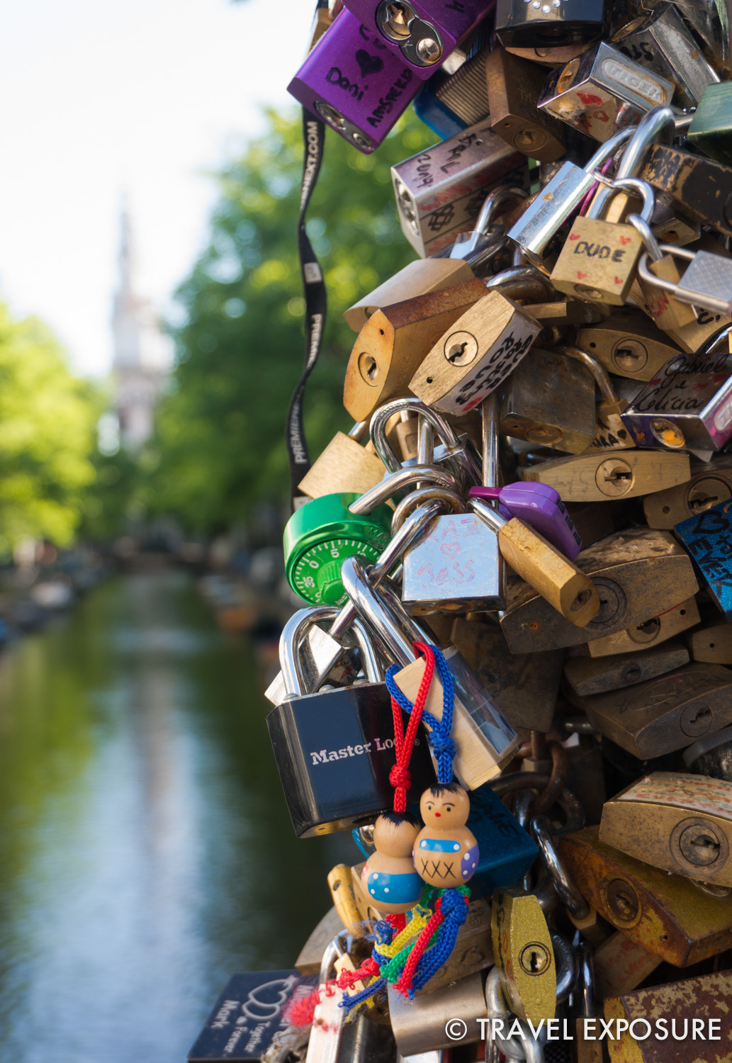 Love locks on a bridge in Amsterdam.