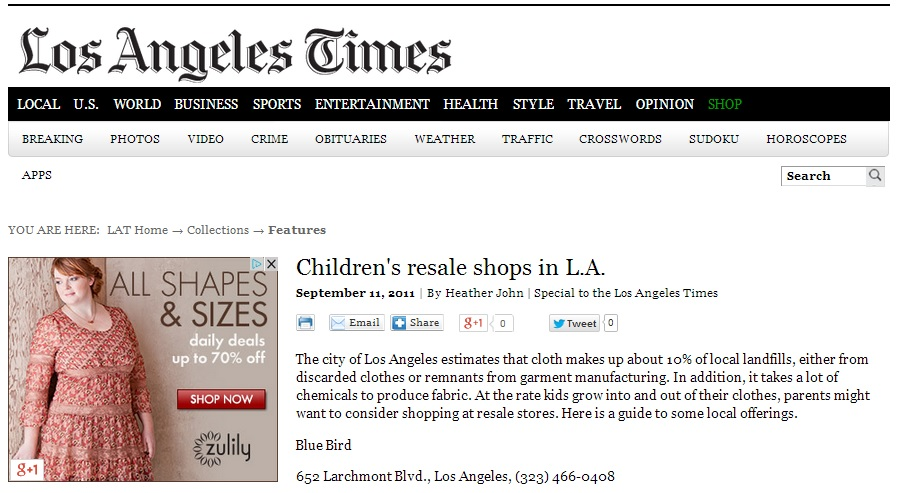 Children's Re-sale Shops in Los Angeles