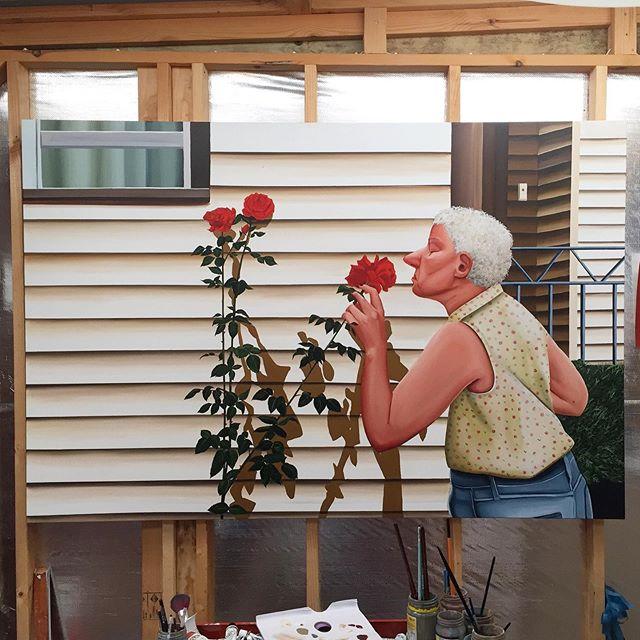 "'Rose Sniffer' in the studio, 72"" x 48"" Oil on linen  @johannesvogtnyc  #johannesvogtgallery"