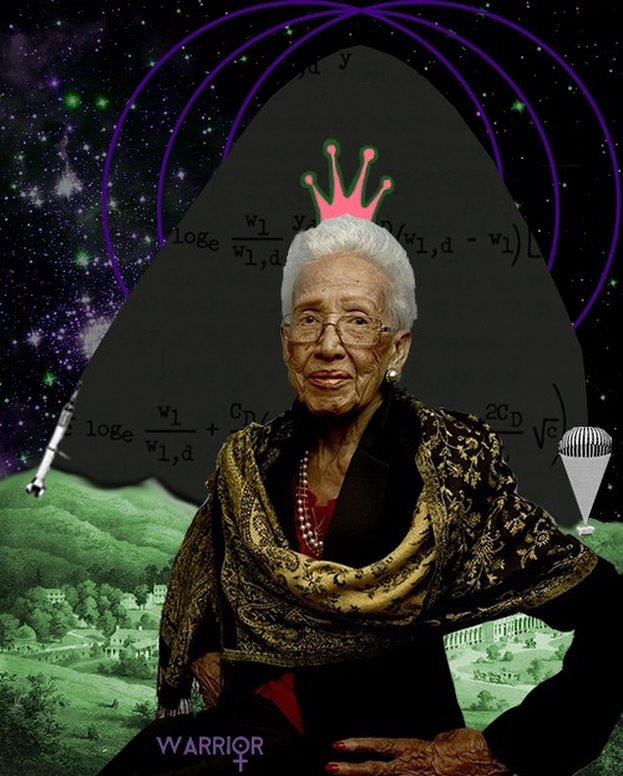 It's pi day! The perfect day to celebrate women in math (because we're so irrational ;-) Depicted in the collage above is mathematician Katherine Goble Johnson, a wizard and a STEM role model, steadfastly pioneering in her field and in the march towards racial and gender equality. Not only did she leave a legacy at NASA so powerfulBarak Obama hung a presidential medal of freedom around her neck, but she also raised three daughters and sang in her church's choir for 50 years. After becoming one of the first three black students to integrate West Virginia University, Johnson worked her way up at NASA to become the first woman in the Flight Research Division to receive credit as an author of a research report—persistently advancing through the racially and sexually segregated institution until its rules began to change. Her work included calculating trajectories for the first American in space, the first American in orbit, as well as the 1969 Apollo 11 flight to the moon. She gained renown both for her ability to handle complex manual calculations and for pioneering the use of computers at NASA. Watch Hidden Figures on amazon or hulu or apple movs for more about this incredible woman. #stem #stemgirls #steminist #piday #piday2018 #nasa #mathmagician #womeninscience