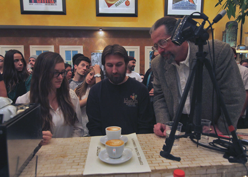 Our judges, left to right: AnnaLee Flemming, North Park News; Todd Goldsworthy,  Klatch Coffee ; and John Rippo,  The Espresso .