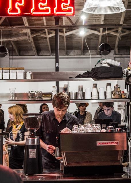 Jacob of Bird Rock Coffee Roasters andJames Coffee's Linea La Marzocco .