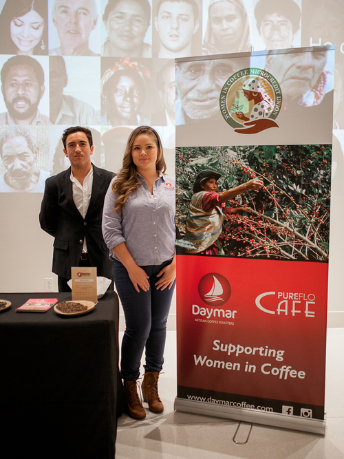 Norman Tiznado of Daymar Artisan Coffee Roasters presenting organic women produced coffees at the Women in Coffee Film Event presented at the Museum of Photographic Arts back on May 20, 2015.