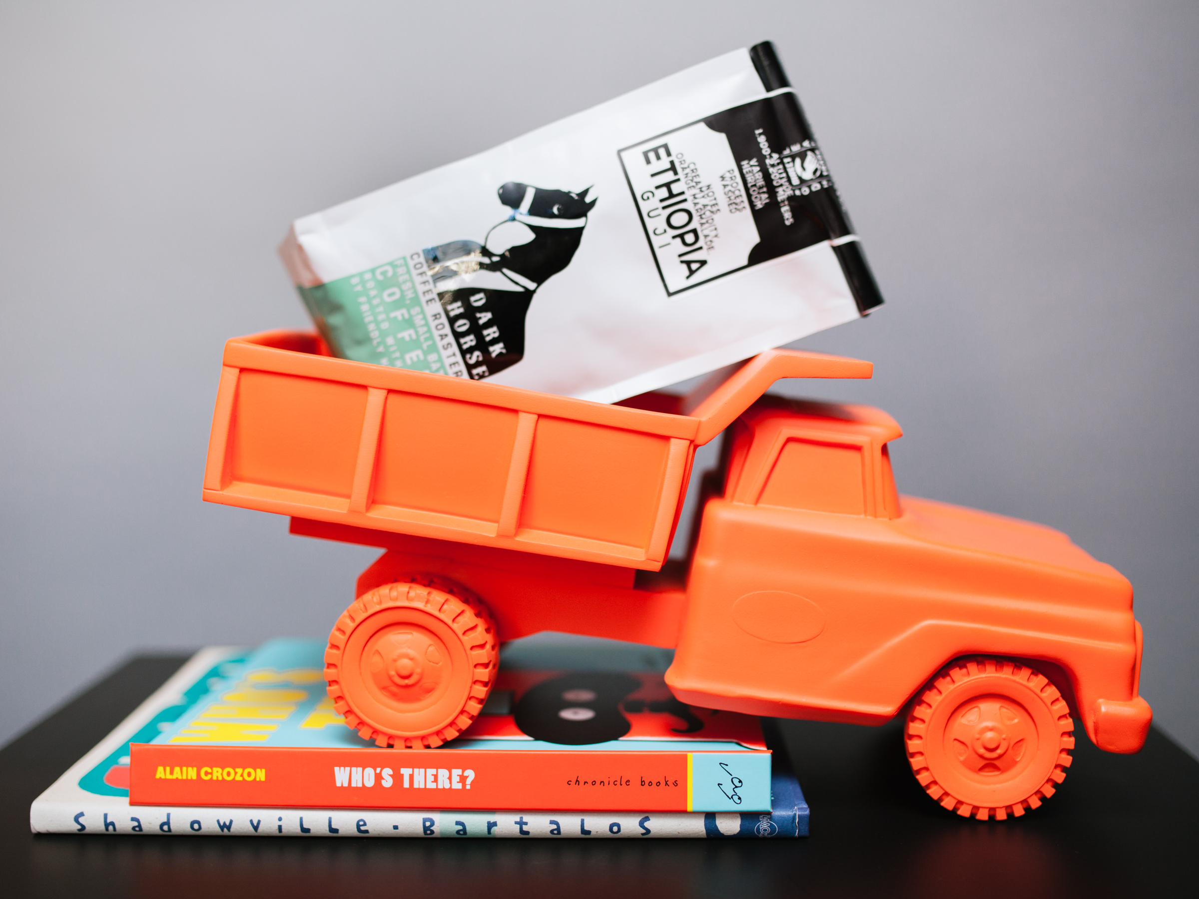 Neon Orange Pickup Truck: $110. Who's There? by Alain Crozon $10.99. Shadowville by Michael Bartalo: $16.95. Photo by Julie Rings.