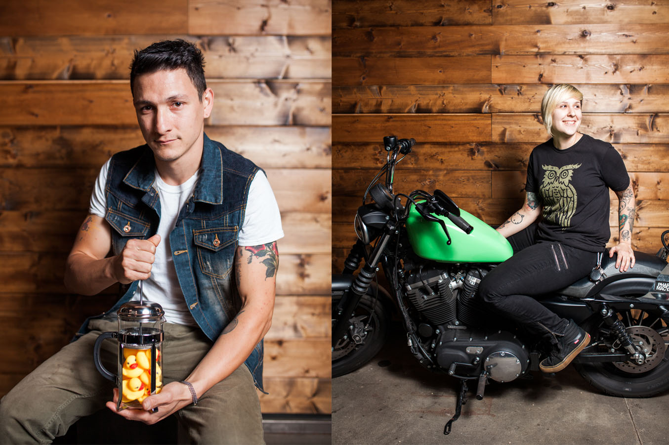 Photos by  Julie Rings .   Dylan Michalek, James Coffee Co: He has a lot of rubber duckies.  Sarah Girdzius, James Coffee Co: She's riding Dirty Diana.