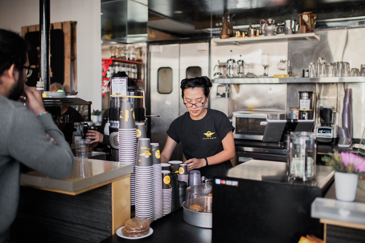 Barista at Cafe Moto. Photo by  Julie Rings .