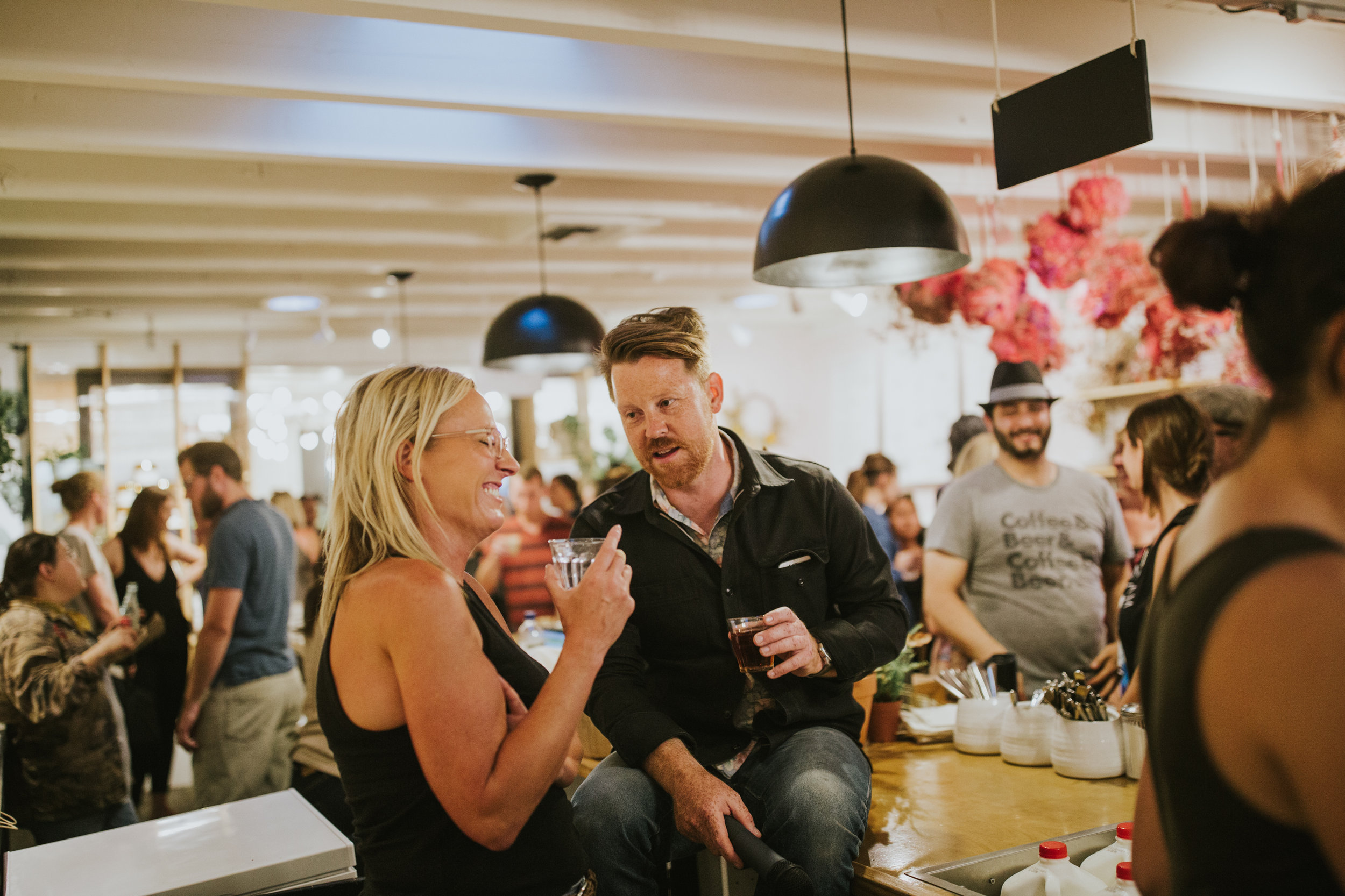 Pictured from left to right: Jen Byard, host and owner of Communal Coffee - Tyler Wells, emcee and owner of Nice Coffee Bar. Photo by Cameron Justin Yu