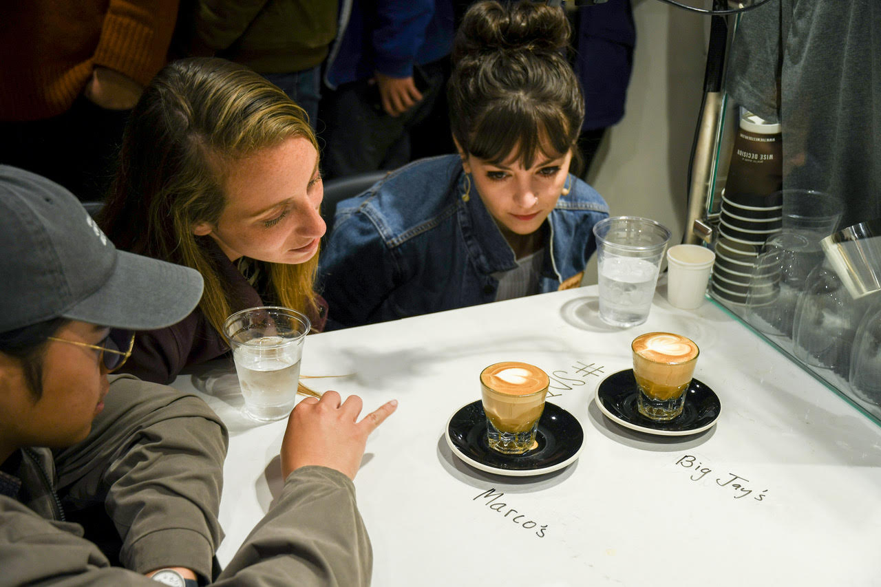 Judges Troy of Sprocast, Lindsey of Bird Rock Coffee Roasters, and Lindsay, formerly of Augie's Coffee, make a tough choice between 2 excellent hearts in the gibraltar round.