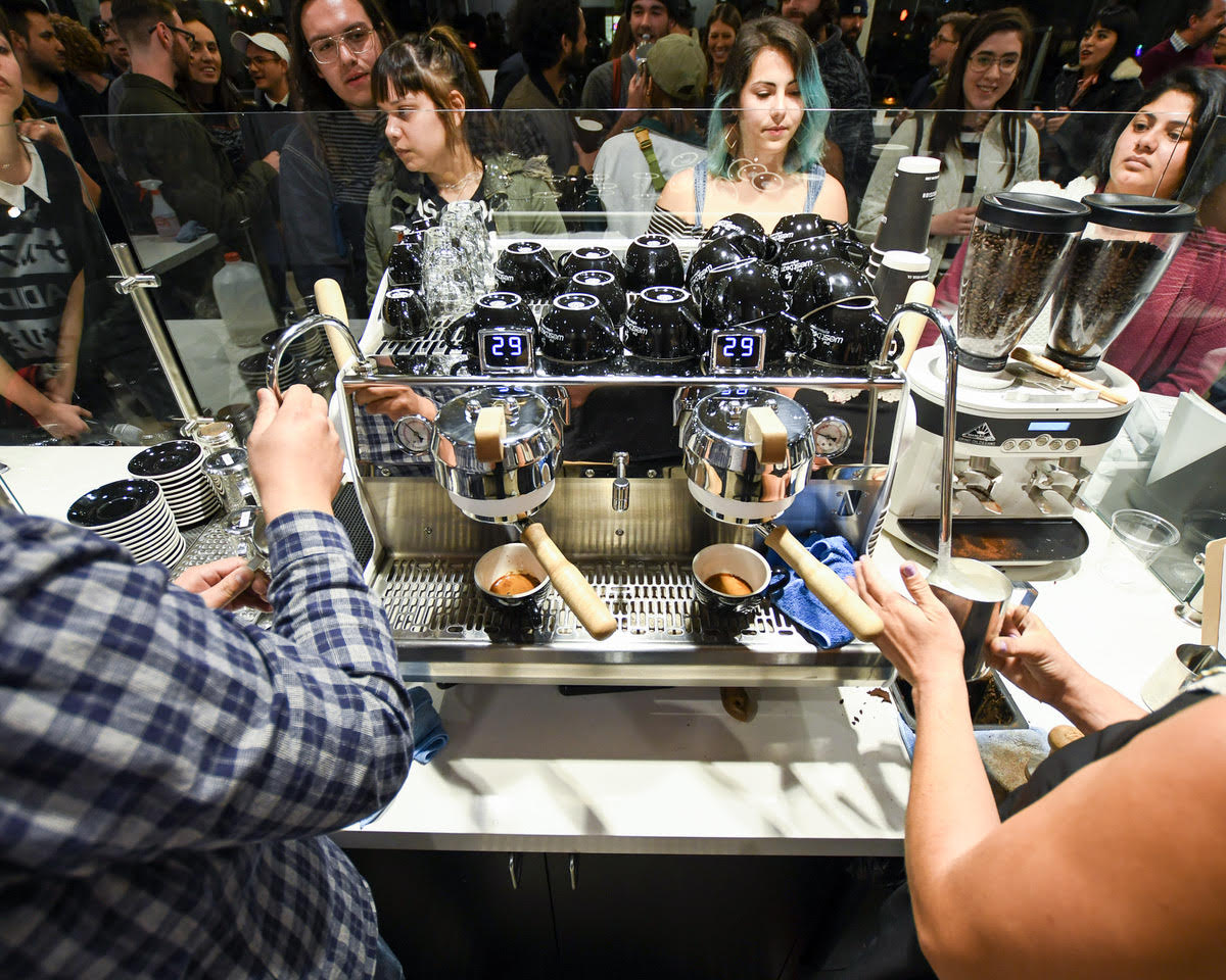 WestBean's white 2 group Synsesso Cynchra espresso machine