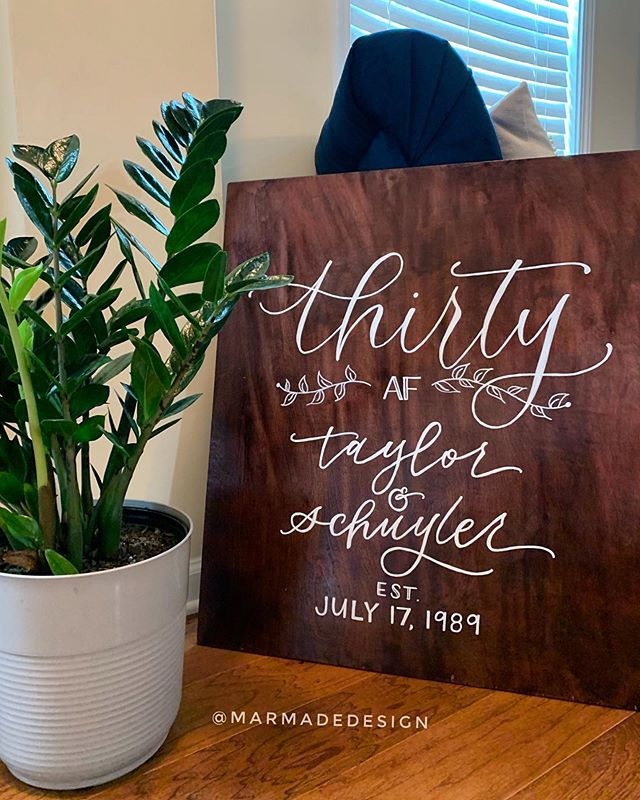 Thirty AF Celebrations. Sign by your girl. 🥳🍾 . . . . . . #atlantalettering #chalklettering #thirtyaf #woodcalligraphy #moderncalligraphy #handdrawnletters #dailytype #calligraphycommunity  #partydecor #handlettering