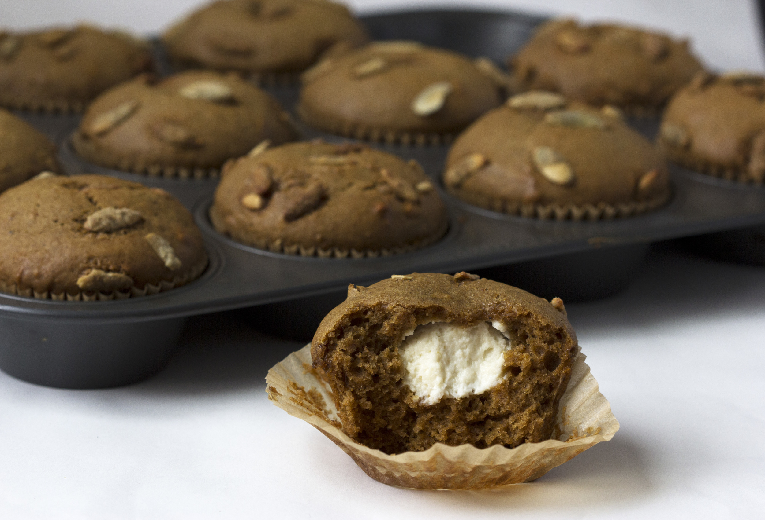 This recipe is based on  this copy-cat-Starbucks muffin recipe , which you should check out if you need to candy your own pumpkin seeds instead of letting Trader Joe's do it for you.
