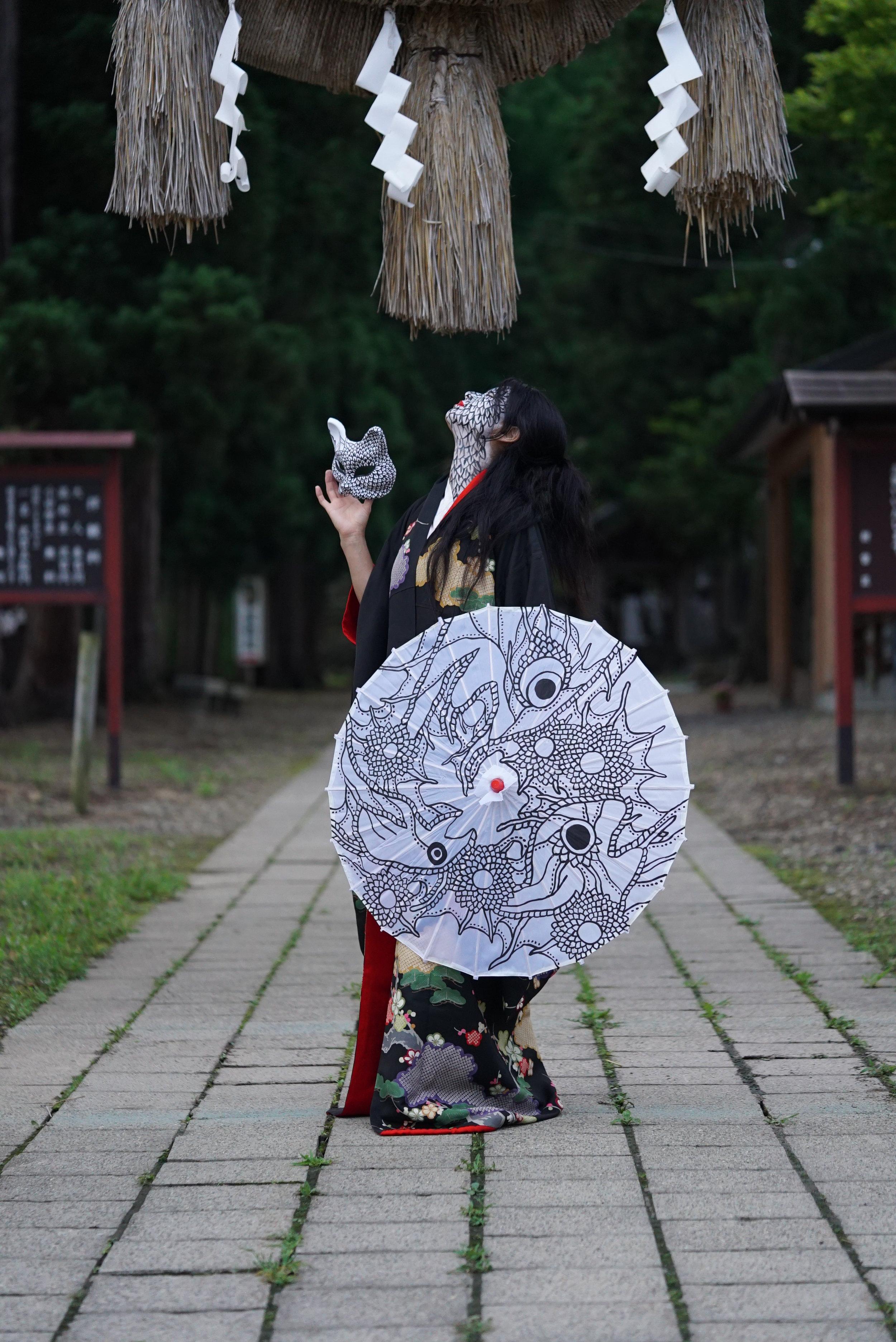 Umbrella and Fox Mask (2016)  Photo Credit: Yukiko Sugiyama