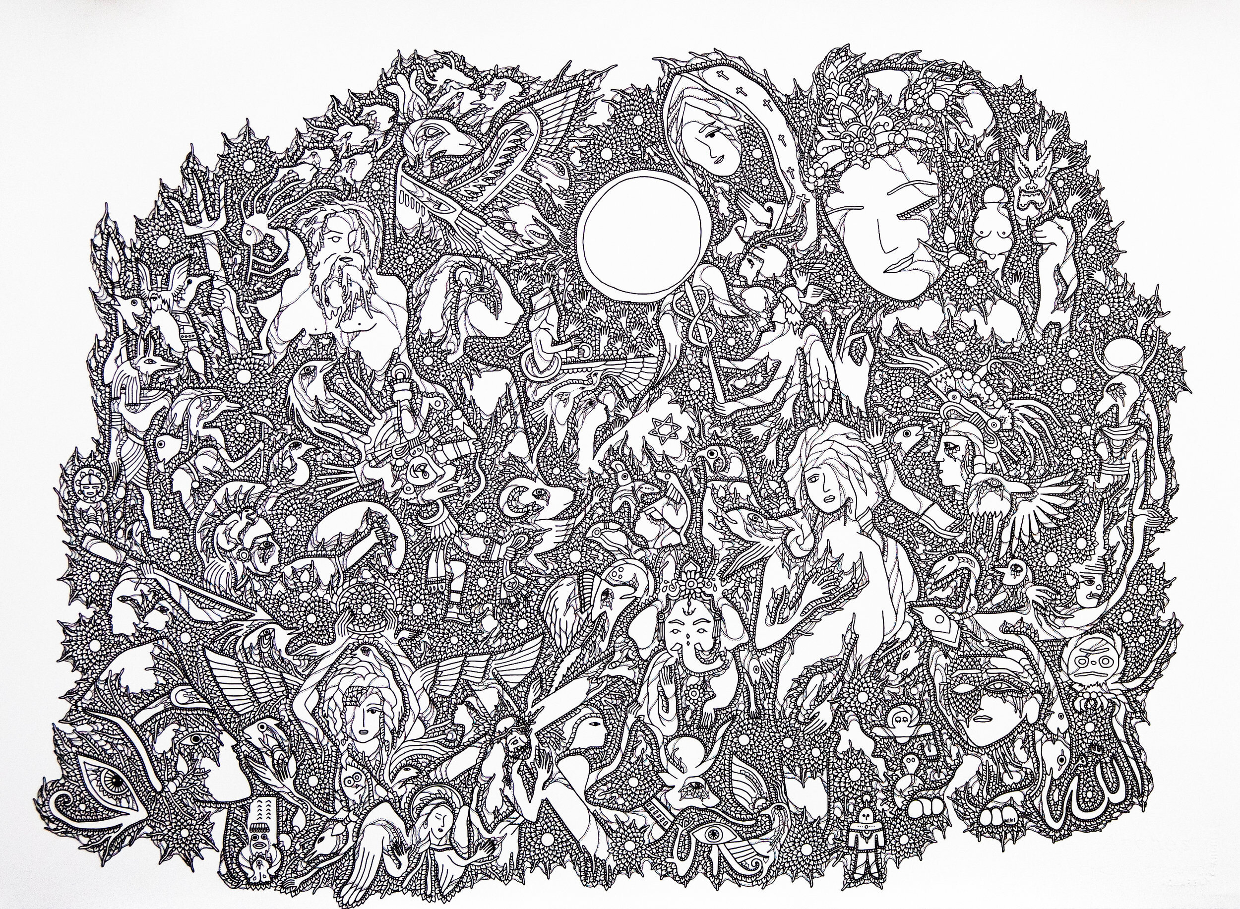 Gods as One (2017), Ink on paper  22.5 in x 30 in