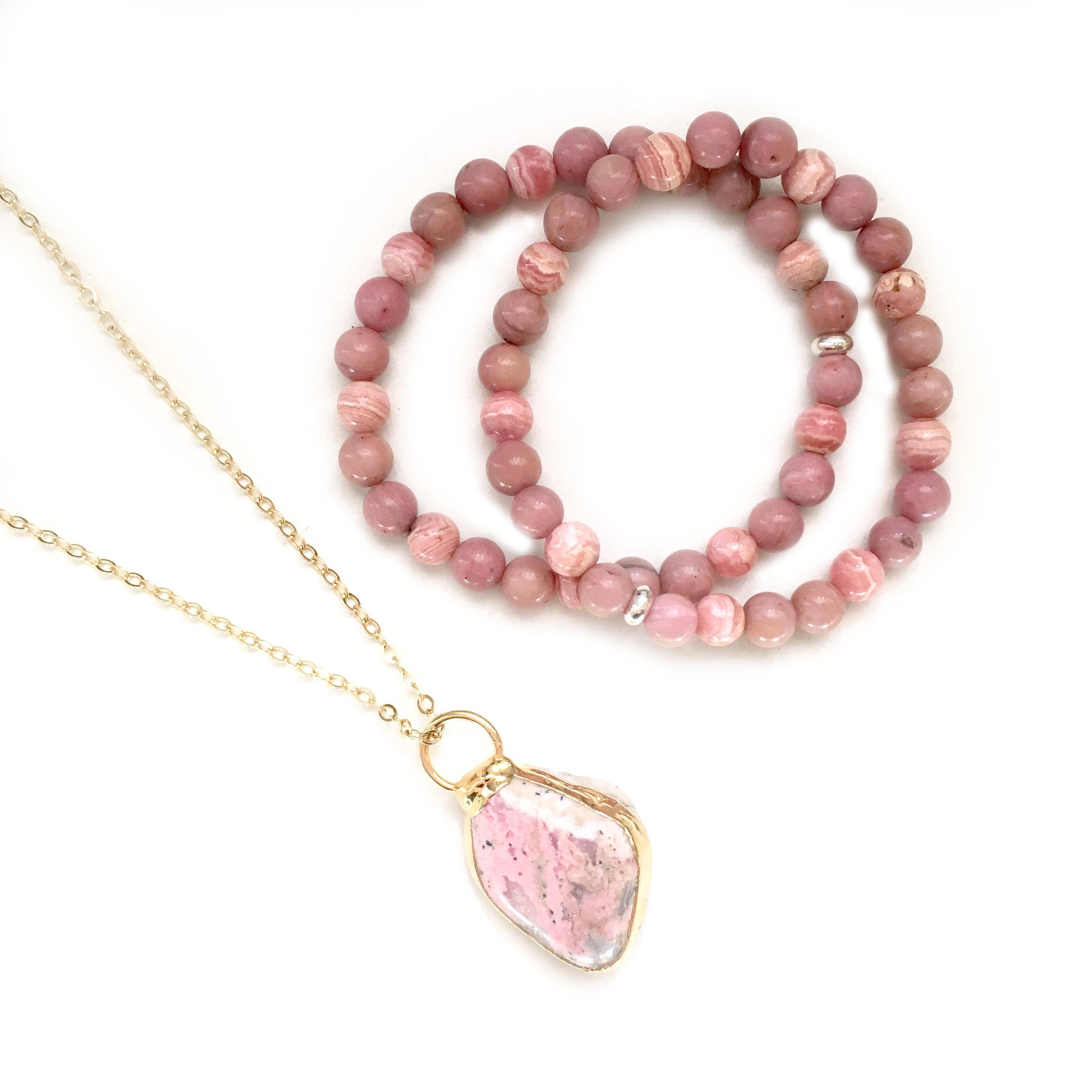 Rhodochrosite Necklace, and Bracelets containing Rhodochrosite and Pink Rhodonite