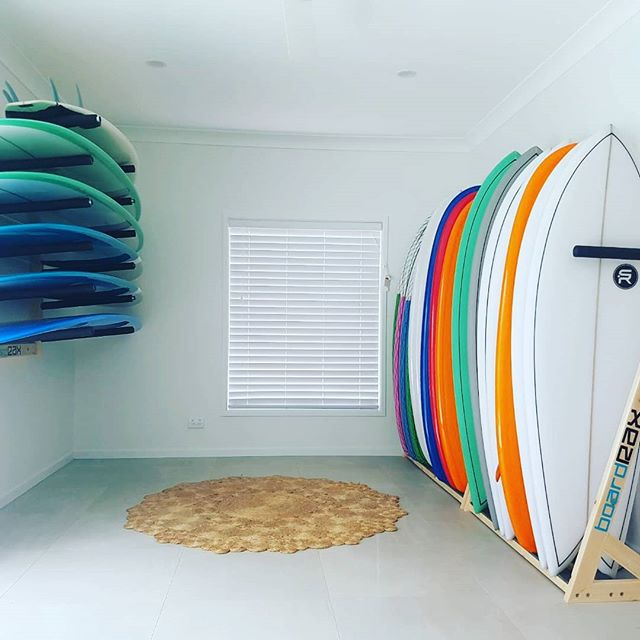 Quiver goals.  Imaging having this line up in your spare room.  RAX20 for 20% off the full rang for the Australia day long weekend.  #beachlife . . . . . BoardRAX display  2X10 surfrax 6 horizontal wallRAX . #surf #surfing #waves #ocean #surfboard #boardrax #boardrack #earth #longboards #love #standuppaddleboard #tbt #design #sydney #me #surfergirl #windsurfing #beach #beautiful #watersports #australiaday #surfrack #quality #serenity #instagood #surfer #fun #handmade