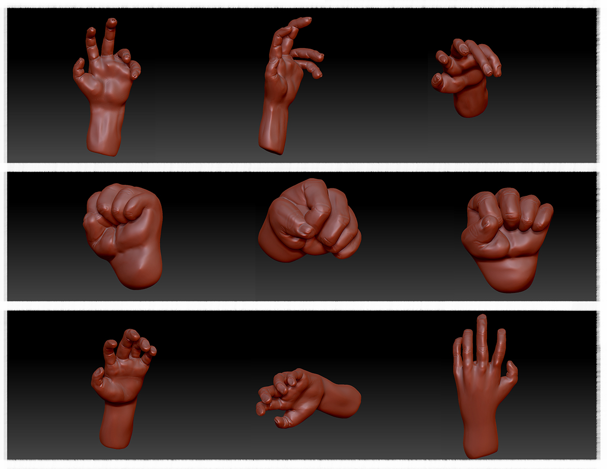 Some zbrush models of hand with skin