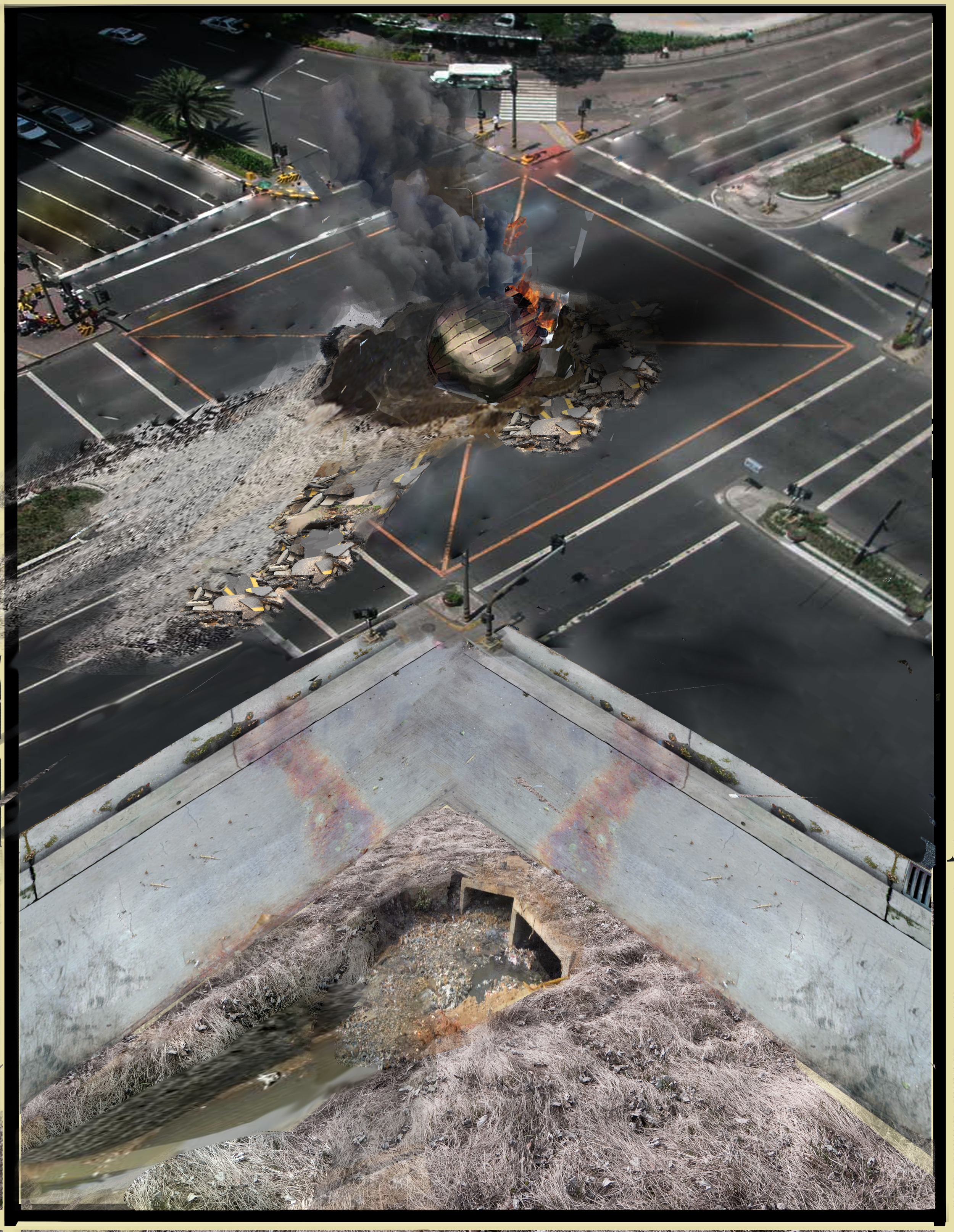 Drone crash. This was created using a technique called matte painting. This involved taking photos and splicing them together and creating a new image.