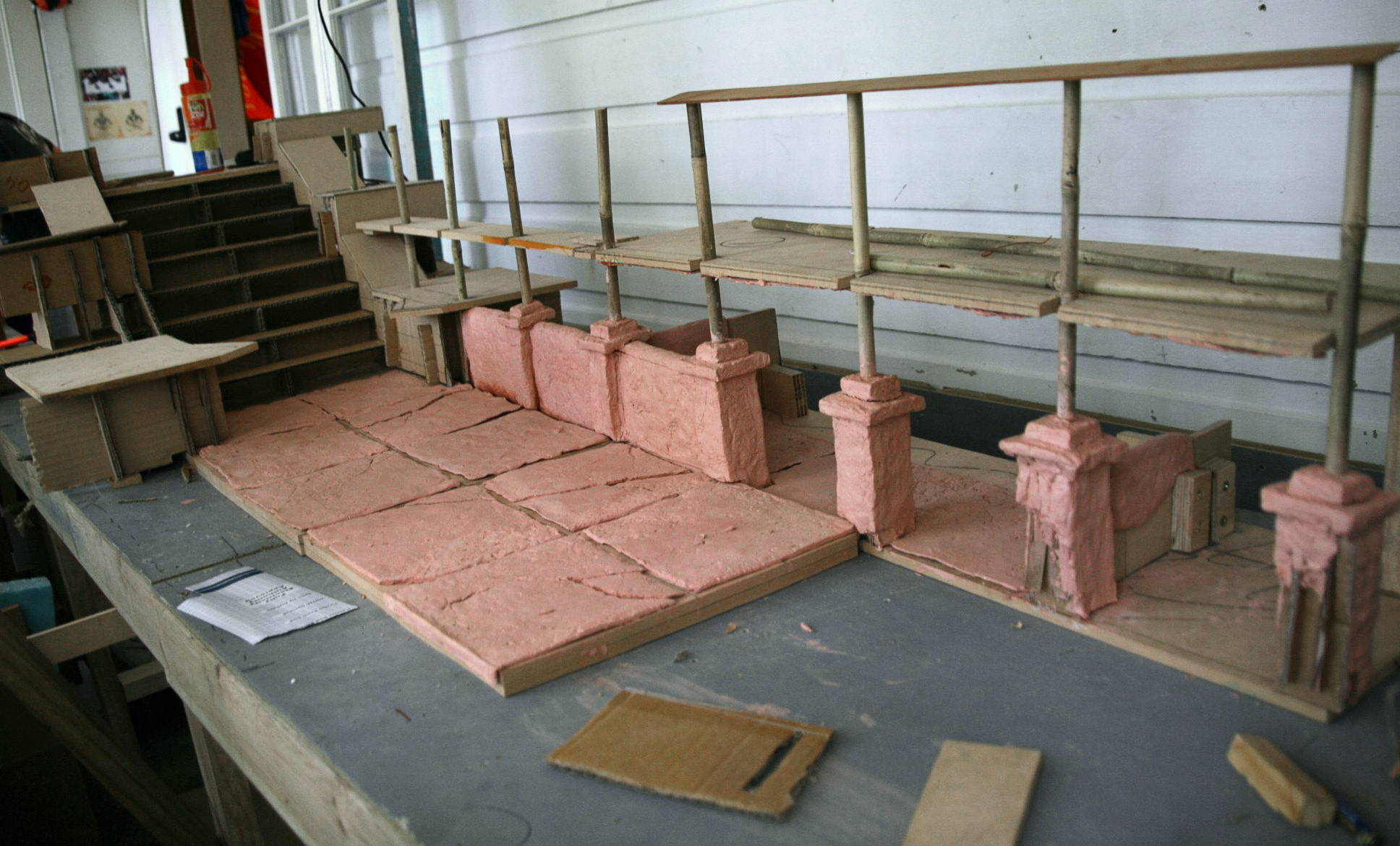 The set was constructed from a mixture of Wood and Cardboard.