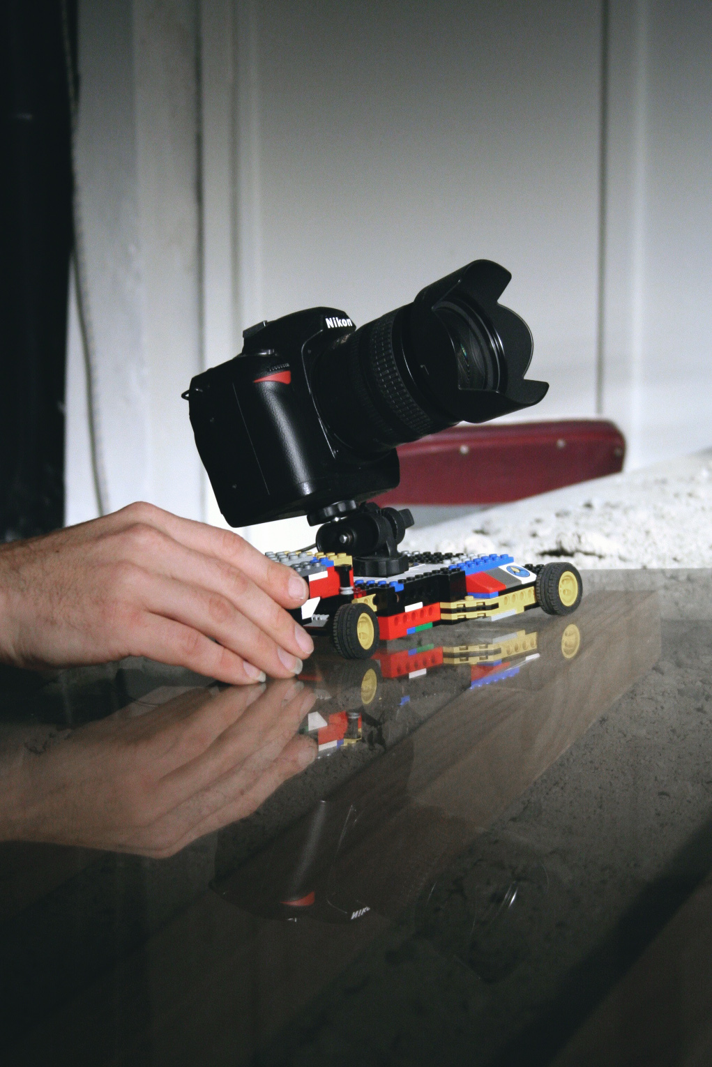 The lego dolly allowed for curved tracking shots at minimal budget.