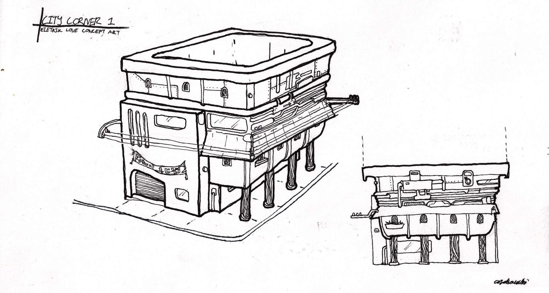 Abandoned exterior concept. A storage tub was to be utilized as the skeleton.
