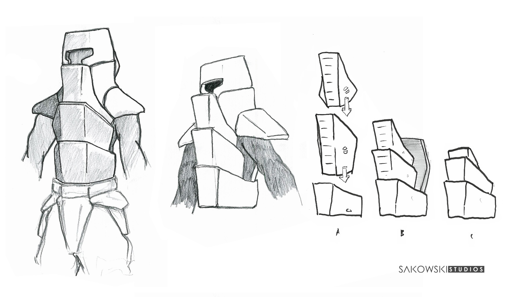 "These designs I originally concepted around 2007 - 2008 they are, and will continue to be work in progress. I wanted to try something different from traditional armour that uses plates interlacing downwards. The idea is a reverse plate exo-shell, the plates act as a electromagnetic spring, they can compress omni-directionally as you move offering maximum protection to vital organs... against you know some kinda future hellish ""Tank Animal"""