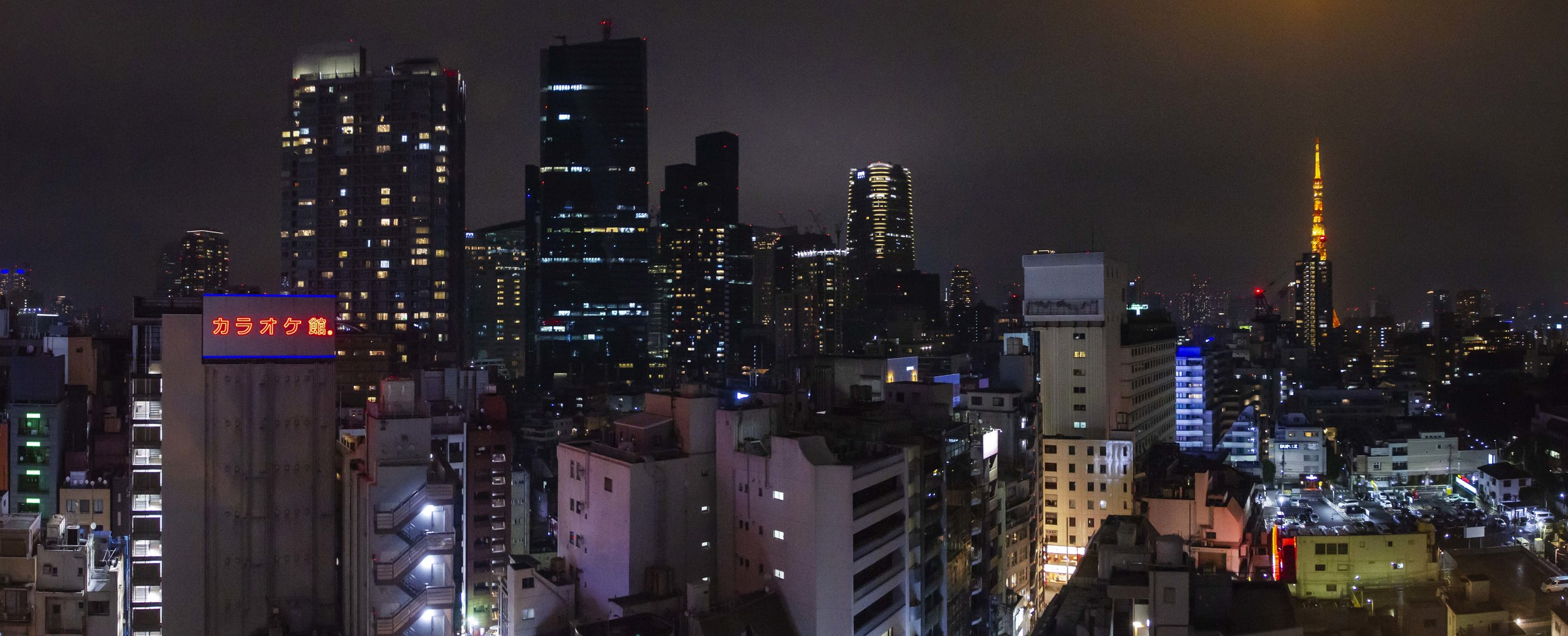 Tokyo from the top of our Hotel in Roppongi. The nocturnal lights of Tokyo lit up the low lying cloud