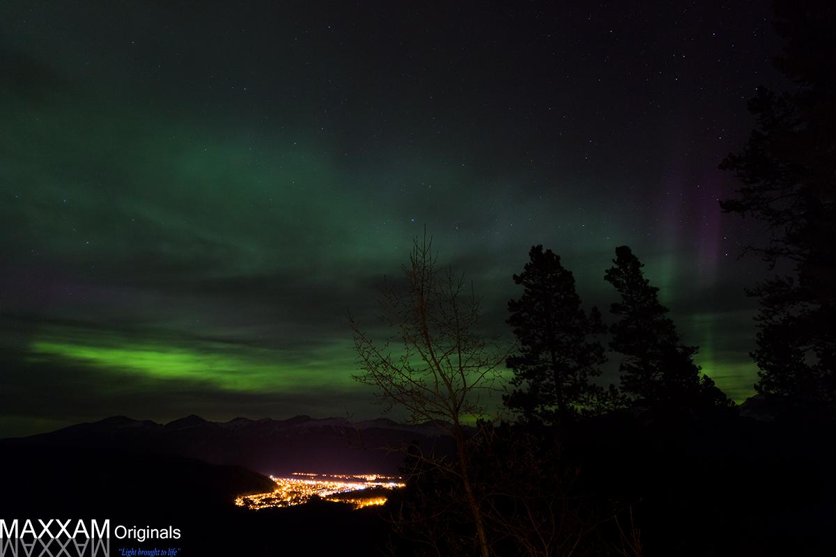 Northern Lights over the town of Jasper, Alberta.
