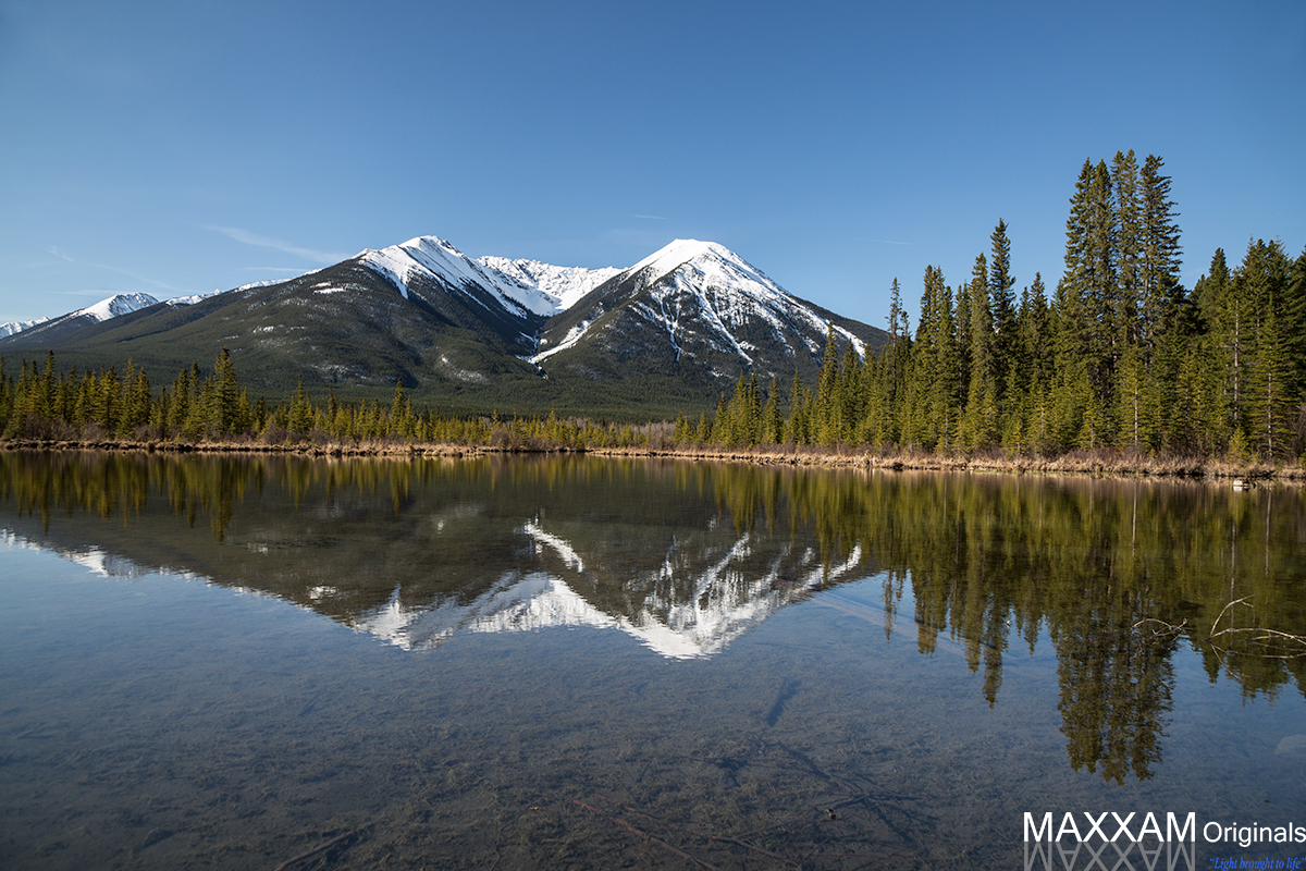 The reflection of a mountain in Vermillion Lakes was a thrilling shot for me.