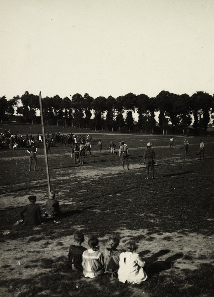 """Indian soldiers did not fight as a separate army, but alongside British units, which led to a certain amount of social interaction. These contacts were fostered by the common experience of the horrors of trench warfare. Pictured above, are the 3rd Horses regiment playing football against the 18th Lancers in July 1915, with a group of French children looking on."" (Caption and picture from the online archives of the British Library.)"