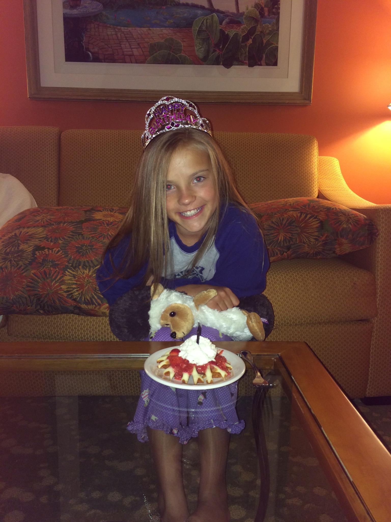 Enjoying my birthday waffle :)