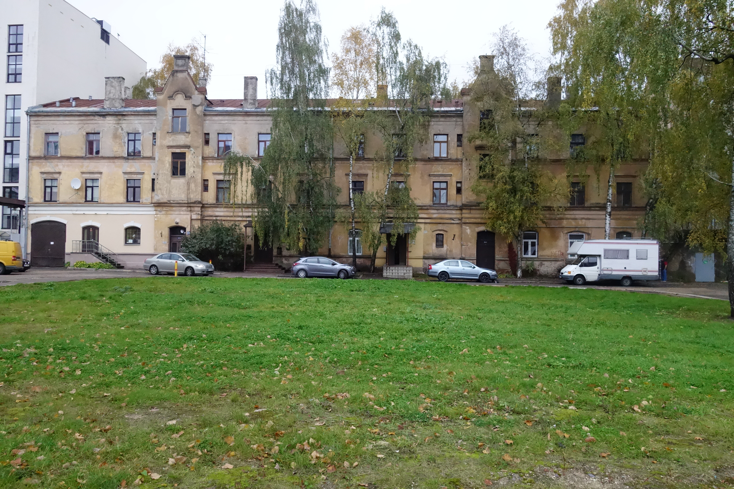 First photo taken during the first trip; a typical apartment block in Riga, Latvia.