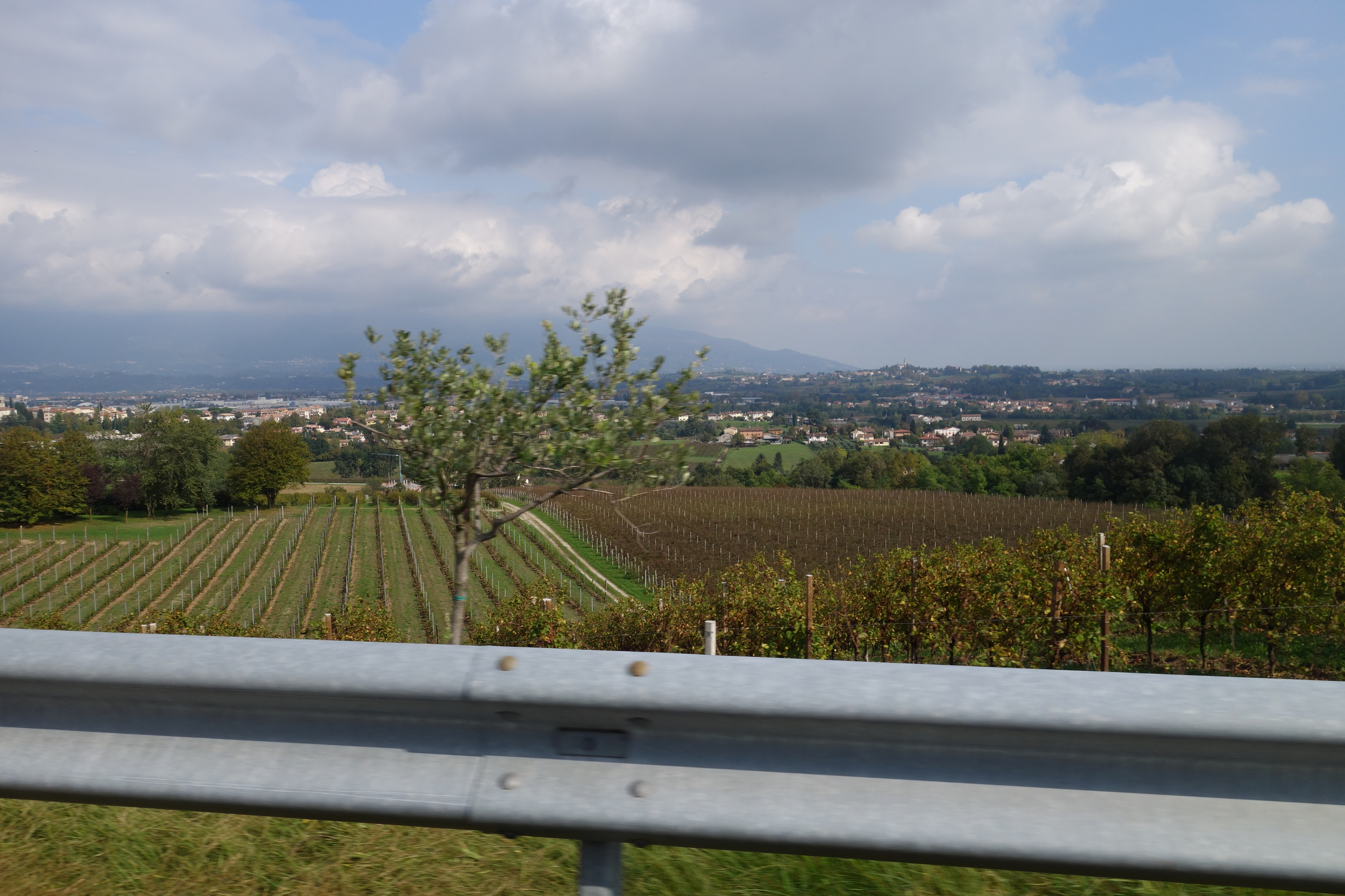 Winding back through the Alp foothill wine regions after a lost luggage run back to the Venice airport.