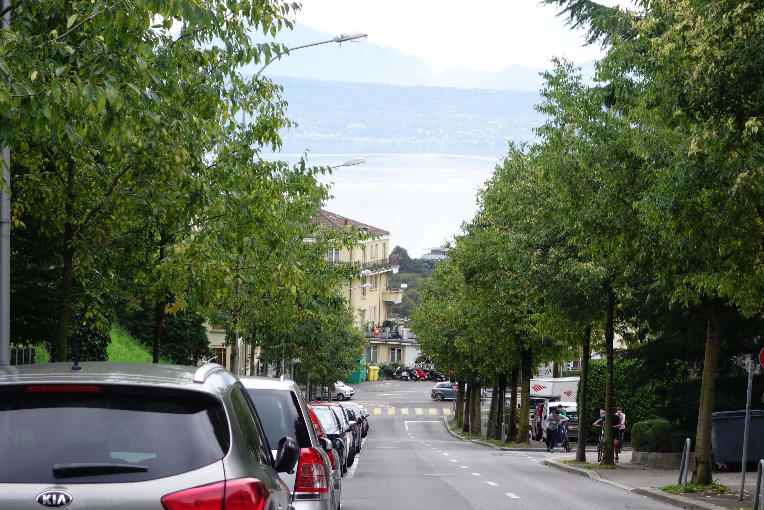 View of Lake Geneva from the right side of the building.