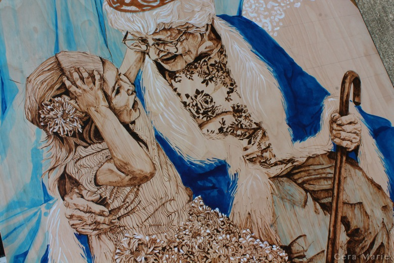 the rightful heir   pyrography, ink & gold leaf on spruce panel   96x144""