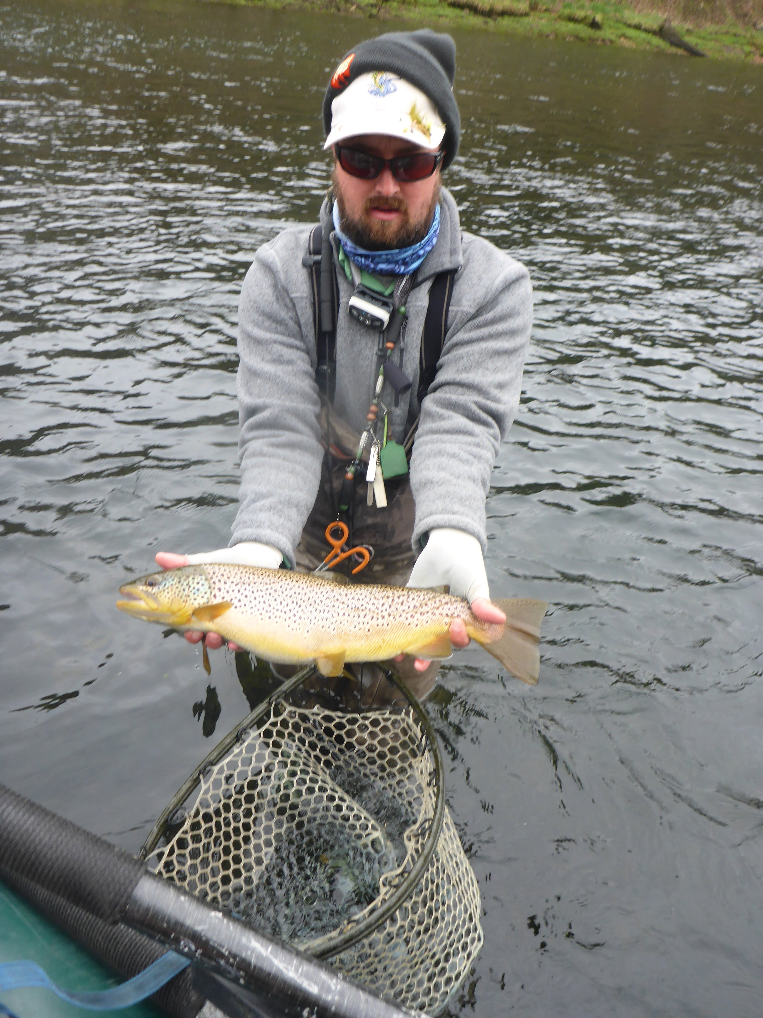 """Jeff Smith landed this impressively fat 20"""" brown on a size 16 hares ear nymph. (here a hares ear nymph makes for a perfect caddis pupa imitation)"""