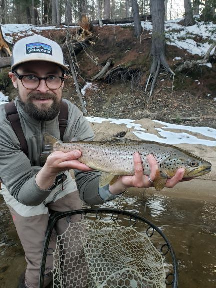 Kevin with an early season Saco River brown trout