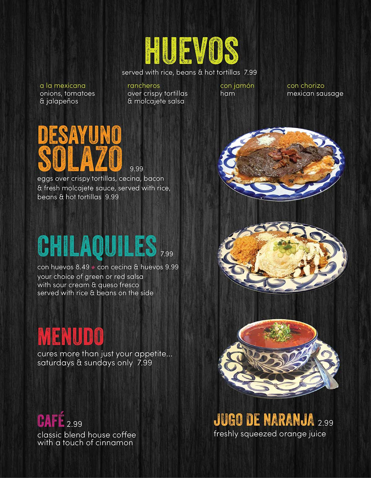 Solazo Breakfast Menu 2019