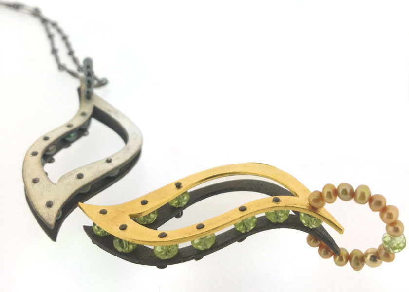 HJN-12_VO $168, 24k gold vermeil and oxidized sterling silver accented with peridots and fresh water pearls.