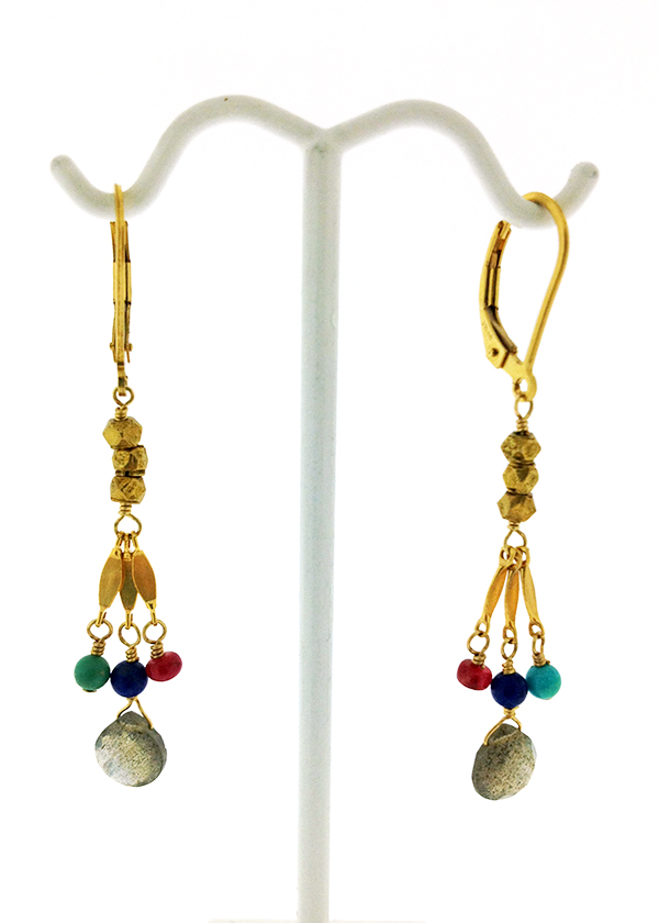 Briolette cut labradorite drop, accented with lapis lazuli, ruby and turquoise. Gold filled lever back hooks.
