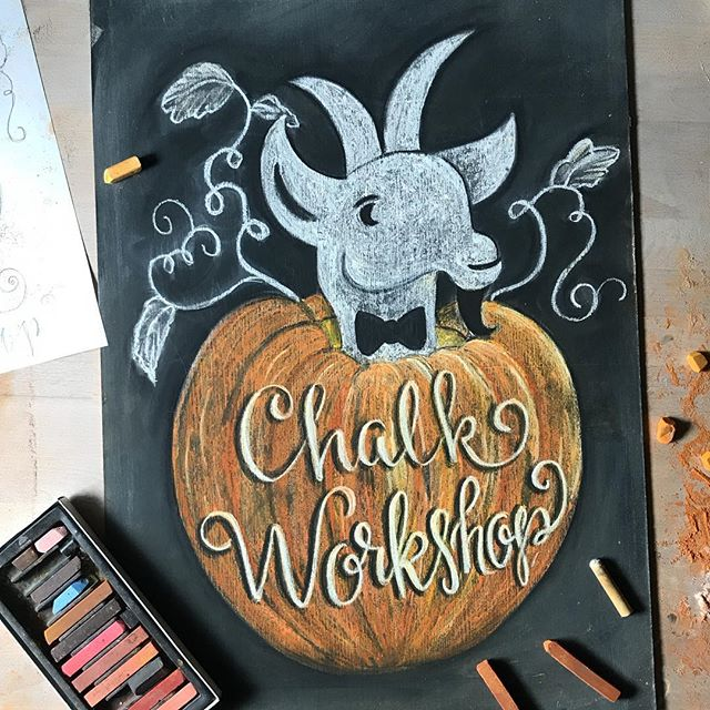 Hey gang! Come get dusty with me next month- October 11 at @papergoatpost This is a very relaxed class for anyone wanting to learn the ins and outs of chalk. Plus it's down right therapeutic to get your hands dirty and create something lovely! Come get your learn on, make some new friends and walk away inspired to take your chalk game to the next level.  Reserve your seat under Workshop & Events link in my bio.
