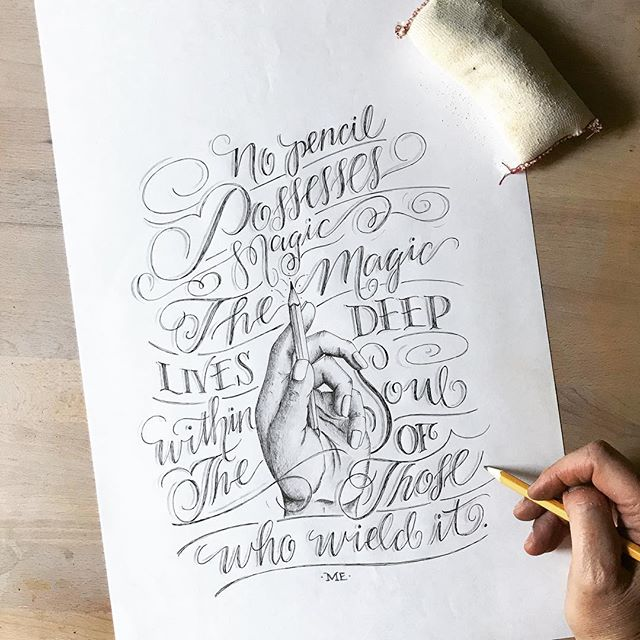 """No pencil has magic. The magic lives deep within the soul of those who wield it."" Practicing hands, pencils and script with a quote I✨ dreamed ✨up and no matter how hard I try I always end up with graphite all over me! Ha! Anyone else have this problem?"